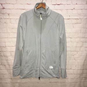 LL Bean light gray athletic ruched jacket large
